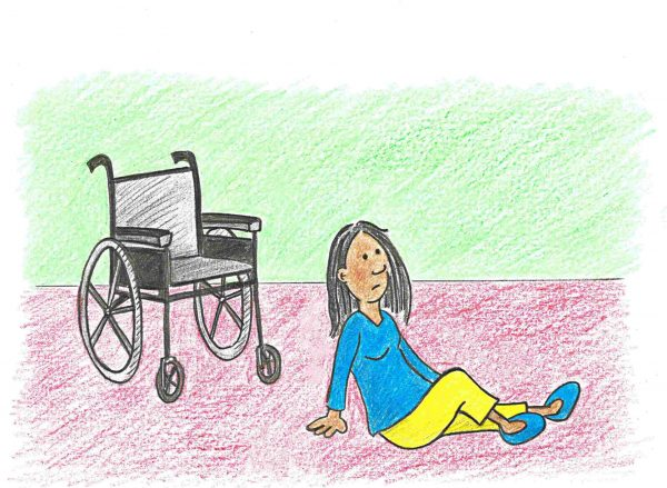 A person that has fallen out of their wheelchair
