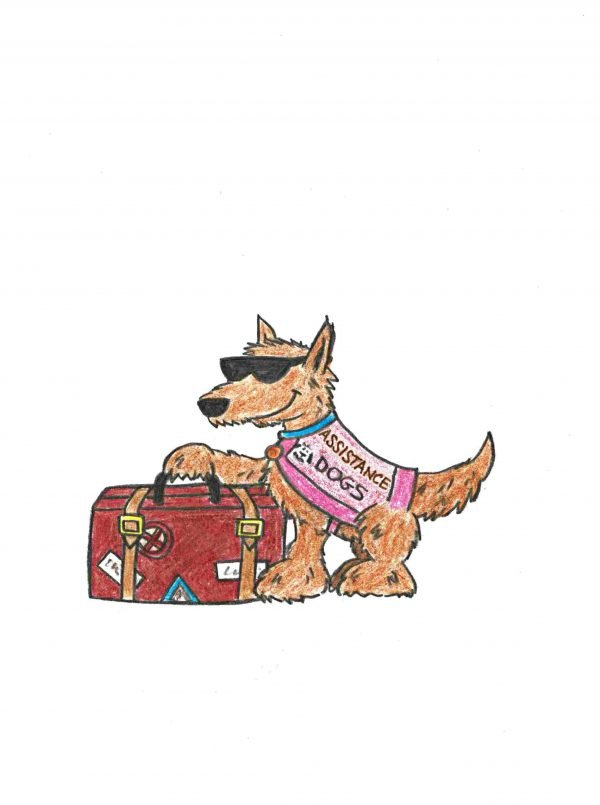 An assistance dog with a suitcase