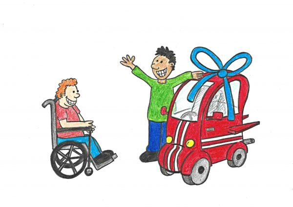 A person gifting a mobility scooter to a wheelchair user